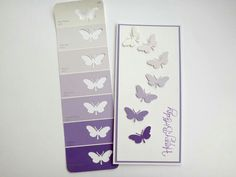Butterfly card made from paint swatch paper