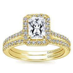 Gabriel & Co. - Yellow Gold Diamond Halo Engagement Ring with Diamond Band.