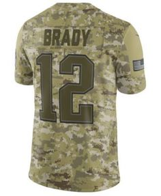 87619c111 Nike Men s Tom Brady New England Patriots Salute To Service Jersey 2018 -  Green S