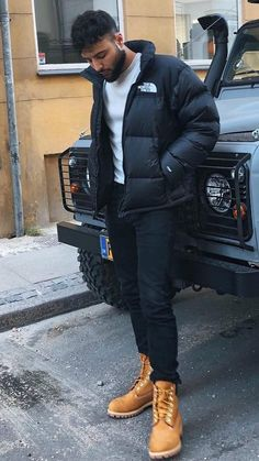 Timberland Outfits Men, Timbs Outfits, Timberland Style, Black Outfit Men, Work Outfit Men, Men Looks, North Face Outfits, Dope Outfits For Guys, Mens Clothing Styles