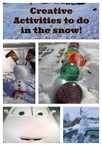 Creative activities to do in the snow! Pin now save for a snowy day! Snow Activities, Outdoor Activities For Kids, Creative Activities, Crafts For Kids, Outdoor Learning, Toddler Crafts, Snow Much Fun, Snow Fun, Winter Fun