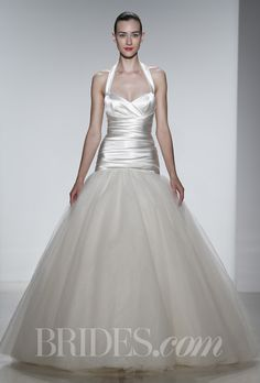 """Brides.com: Kenneth Pool - Spring 2014. """"Jemma"""" stretch duchess satin tulle gown with rouched bodice and halter straps, Kenneth Pool"""