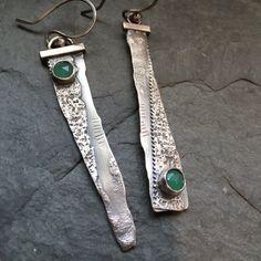 LONG Silver Earrings Rustic Dangle Earrings Green by artdi on Etsy