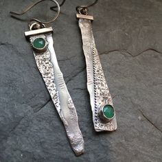 LONG Silver Earrings Rustic Dangle Earrings Green by artdi on Etsy