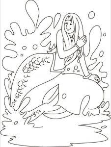 Mermaid Enjoying The Water Coloring Page