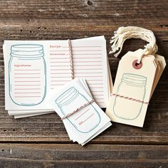 Jar Labels, Tags & Recipe Cards - contemporary - food containers and storage - by Williams-Sonoma Mason Jar Tags, Pot Mason, Mason Jar Crafts, Canning Labels, Jar Labels, Canning Jars, Canning Recipes, Planning Menu, Printable Recipe Cards