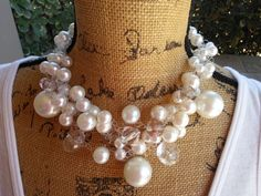 Please Pin if you like this new design! 👏👏👏  Add this Beauty to your Spring LOOK! 🎉🎉🎉  Check out my Sale!!!! Use Code: 20OFF  Bridal Pearl Statement Necklace, Handmade, Chunky, Bib, Collar, Designer Inspired, Crocheted