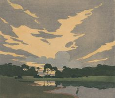 A. B. Webb, The Haunt of the Heron, ca. 1920, woodcut print National Gallery of Australia.  Grandiloquences