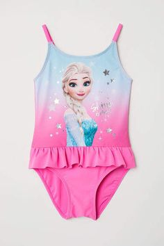 Swimsuit with a printed motif at front. Ruffle at waist, narrow shoulder straps, lined front, and lined gusset. Girls Dance Costumes, Dance Outfits, Family Outfits, Cute Outfits For Kids, Frozen Outfits, Frozen Kids, Unicorn Fashion, Kids Winter Fashion, Bath Girls