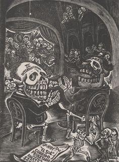 RISD Museum: Leopoldo Méndez, designer, Mexican, 1902-1969; La Estampa Mexicana, publisher, Mexican, ca. 1942. The Symphonic Concert of Skeletons, From the portfolio 25 Prints of Leopoldo Méndez, 1943. Wood engraving. Sheet: 24.8 x 19.7 cm (9 3/4 x 7 3/4 inches). RISD Transfer 52.033.8