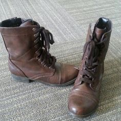 Brown Combat Boots Gently worn SO Shoes