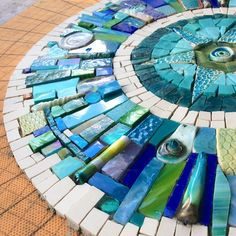 undefined Unfinished as yet, but, the most incredibly beautiful masterpiece from the talented hands of mosaic artist Siobhan Allen. How incredibly flattered do I feel?like the use of differing items and shapesStepping stones for garden? Mosaic Pots, Mirror Mosaic, Mosaic Glass, Mosaic Tiles, Mosaic Crafts, Mosaic Projects, Mosaic Designs, Mosaic Patterns, Glass Wall Art