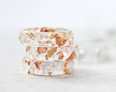 Resin Ring Yellow Pink Gold Flakes Small Faceted Ring OOAK boho minimalist jewelry rusteam