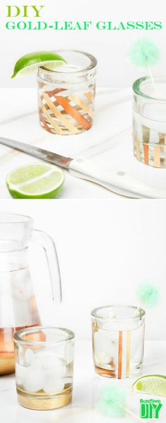 5. Gold-Leafed Cocktail Glasses | 6 Gorgeous DIY Drinking Glasses To Make Before Summer's Over
