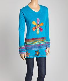 Another great find on #zulily! Turquoise Flower Scoop Neck Tunic by India Boutique #zulilyfinds