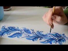 урок Петриковской росписи. орнамент кистью и кошачкой (Petrikovka Ukraine)