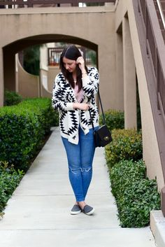 Aztec Print Cardigan + Pink T-Shirt + Ripped Skinny Jeans + Polka Dot Slip-ons + Crossbody Bag #springfashion #outfit