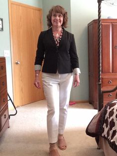 9fb847a70e2 I love the contrast the black jacket adds too this look. Love the necklace  as