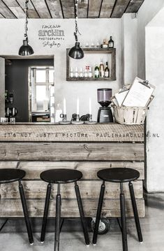 Ideas For Design Kitchen Restaurant Coffee Shop Decoration Restaurant, Deco Restaurant, Restaurant Design, Industrial Restaurant, Vintage Restaurant, Modern Restaurant, Café Design, Deco Design, Food Logo Design