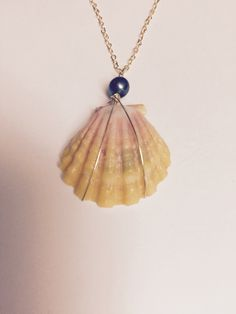 Hawaiian Sunrise Sea Shell Wire Wrapped Necklace With Black Fresh Water Pearl by GiftsbyKarenM on Etsy