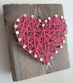 Rustic string art hot pink heart block A unique gift for Weddings Anniversaries Birthdays Christmas Valentines Day new baby girls and just because. Review
