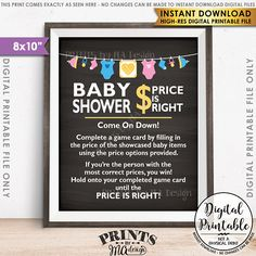 Price is right baby shower game sign, guess the prices activity, price game,