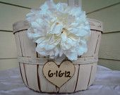 Rustic Wedding Basket - rustic basket- wedding river rock guest book basket $25.00
