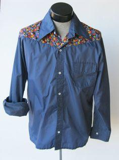Vintage SKYR Shirt Men's XL Hip Hop Disco Hippie Floral Western Mod Nylon