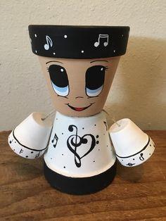 Flower Pot Art, Flower Pot Design, Clay Flower Pots, Flower Pot Crafts, Clay Pots, Flower Pot People, Clay Pot People, Painted Plant Pots, Painted Flower Pots