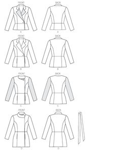 Butterick 6104: nice 'bones' to this jacket, with the button closure off to the side and the various collar options