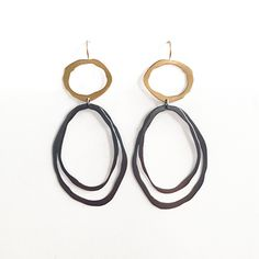 Thin+Fixed+Wire+Double+Drop+Earrings by Lisa+Crowder: Gold+&+Silver+Earrings available at www.artfulhome.com