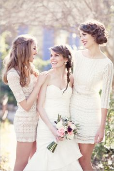 white lace bridesmaid dresses