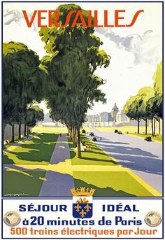 Vintage Versailles French France Travel Poster
