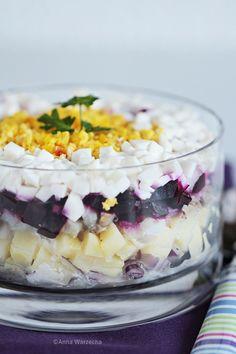Szuba – rosyjska sałatka śledziowa Salad Recipes, Salads, Food And Drink, Pudding, Fish, Impreza, Dom, Desserts, Kitchens