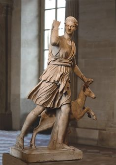 "Diana (Artemis) Huntress known as Diana of Versailles. The ""Seville-Palatine"" type. Marble. Roman copy of the 1st—2nd cent. CE of a lost Greek bronze original attributed to Leochares, ca. 325 BCE. Inv. No. MND 1560 / Ma 3435. Paris, Louvre Museum"