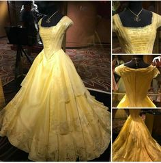 Belle's dress and the enchanted rose are on display at the One Man's Dream theater at Hollywood Studios! Disney Princess Dresses, Disney Dresses, Prom Dresses, Wedding Dresses, Beauty And The Beast Theme, Disney Beauty And The Beast, Pretty Dresses, Beautiful Dresses, Belle Costume