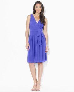 Ralph Lauren Purple Pleated Georgette Surplice Sleeveless Dress. Visit Page - http://www.ebay.com/itm/-/121700828814?roken=cUgayN
