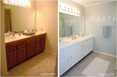 Easy DIY ideas for updating older bathrooms. So many great ideas including how to paint tile & grout, and how to frame in a mirror!