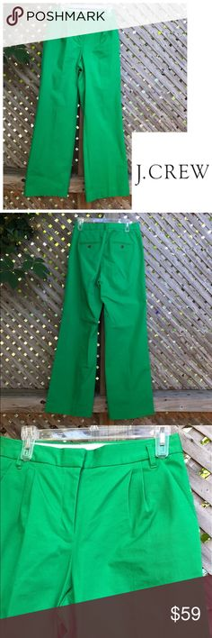 """NWOT J. Crew Collection Green Chino Pants. Sz 10 NWOT J. Crew Collection Green Chino Pants. Sz 10.  Long and high rise. Color is spring green. Zipper front.   Waist: 16.5"""". Rise: 12.5"""". Inseam:  34"""". Length: 46"""". J. Crew Pants"""