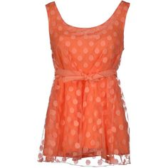 Blugirl Folies Top (55 CAD) ❤ liked on Polyvore featuring tops, shirts, dresses, tank tops, tanks, orange, orange tank top, polka dot tank top, red polka dot top and red sleeveless top