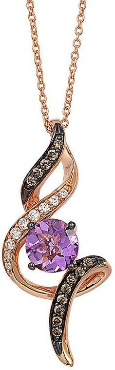 Le Vian LeVian Amethyst Necklace 1/6 ct tw Diamonds 14K Strawberry Gold bWMLB