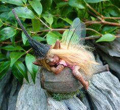 Cute & Tiny Woodland Forest Fairy by Celia Anne by scarletsbones, $68.00