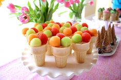 Ice Cream Birthday Party ~ serve fresh fruit in ice cream cones