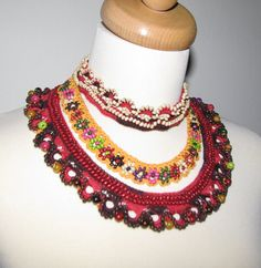 Jewelry / Necklaces  Beadwork Free form  crochet by kovale on Etsy, $126.00