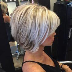 Grey Hair Inverted Bob Haircut