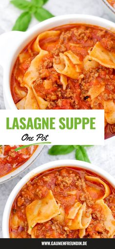 One Pot Lasagnesuppe - eine schnelle und leckere Suppe für kalte Tage Wonderfully creamy and spicy one pot lasagna soup with minced meat and lasagna pasta - a quick and tasty one pot recipe Meat Recipes, Baby Food Recipes, Healthy Dinner Recipes, Pasta Recipes, One Pot Recipes, Detox Recipes, Healthy Food, Lasagne Soup, Carne Picada