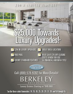 Berkeley features stunning luxury homes in Boca Raton in a pristine and tranquil location. Berkeley Boca offers a private lifestyle with flexible home designs and upscale features and amenities Florida Homes For Sale, Free Pool, Luxury Estate, Florida Living, New Home Builders, New Homes, Real Estate, House Design, Real Estates