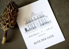 hand lettered manor save the date 500x360 Hand Illustrated Save the Dates. illustrated. lettering. typewriter.