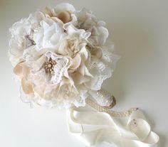 Fabric flower bouquet, Vintage weddings, Brooch bridal bouquet, Keepsake bouquet, Champagne and lace bouquet