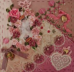 Crazy quilt embellishment with ribbon roses and hand embroidery